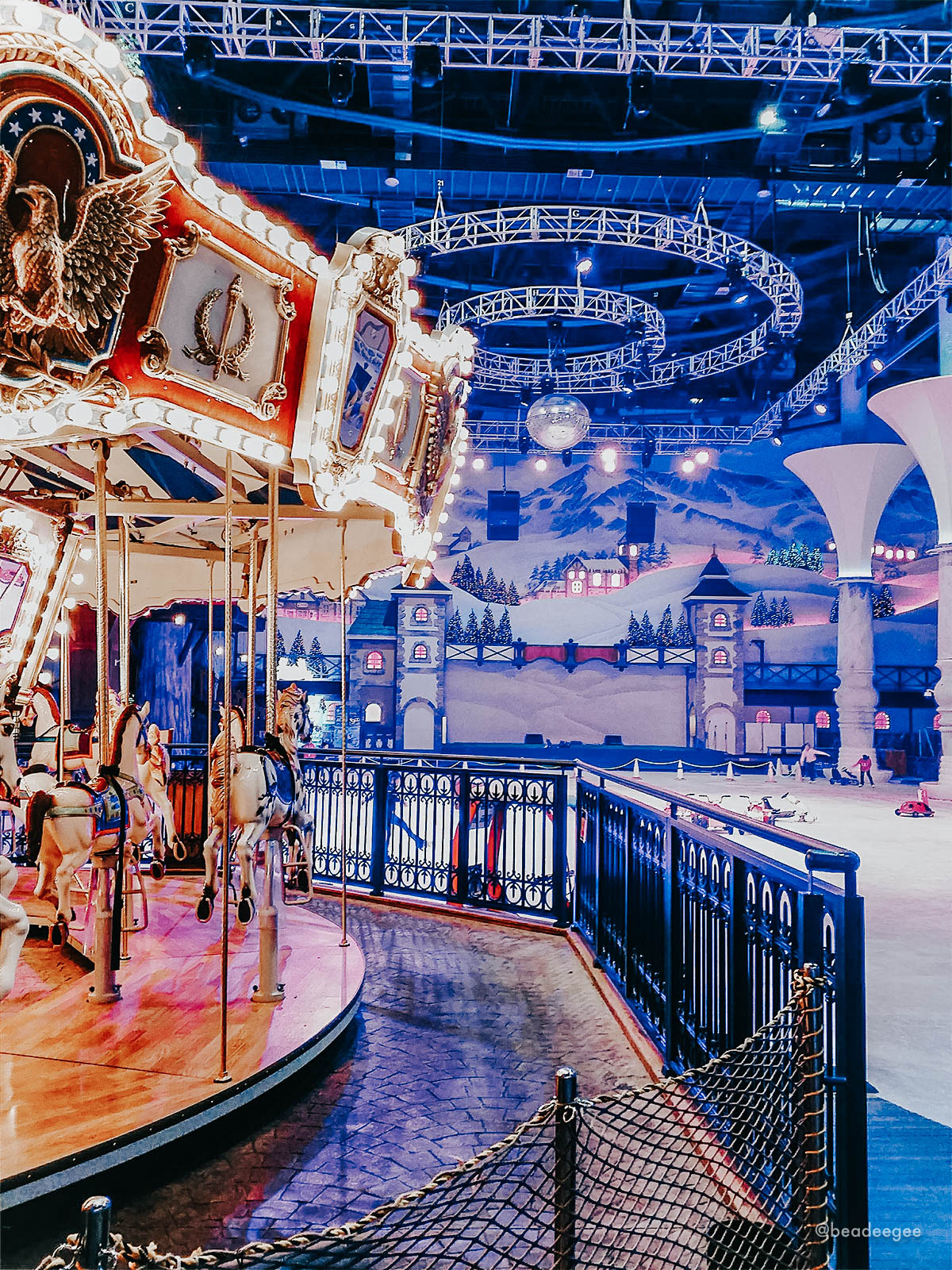 A carousel and skating rink of One Mount Snow Park