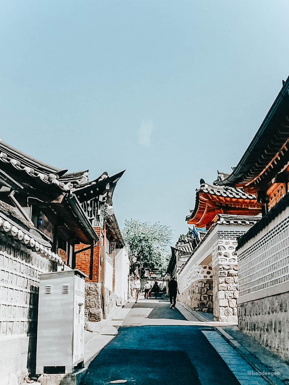 An empty alleyway in Bukchon Hanok Village in Seoul